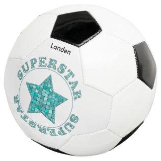 """個人化して下さい:  """"スーパースター""""のティール(緑がかった色)のタイルのタイポグラフィ サッカーボール"""