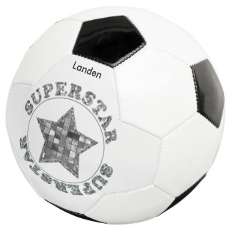 """個人化して下さい:  """"スーパースター"""" B及びWのタイポグラフィ サッカーボール"""