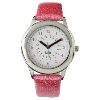 個人化して下さい:  チューリップのガーリーなピンクの花の円 腕時計