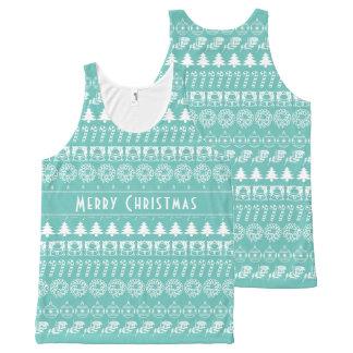 個人化して下さい: ティール(緑がかった色)およびホワイトクリスマスは縞で飾ります オールオーバープリントタンクトップ