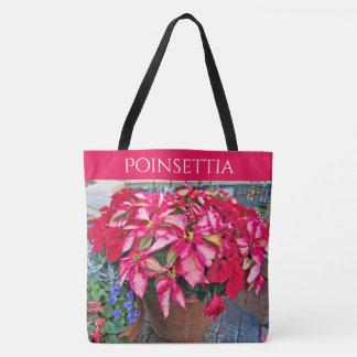 個人化して下さい:  ポインセチアのクリスマスの写真 トートバッグ