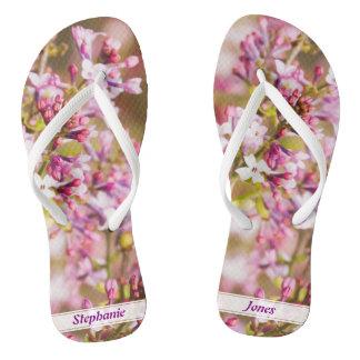 個人化して下さい: 写真のラベンダーの春の薄紫を開花して下さい ビーチサンダル