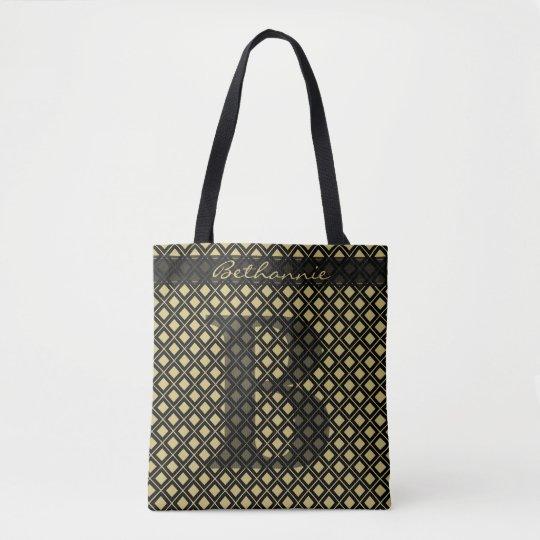 個人化して下さい: 幾何学的なはっきりしたな最初の黒か金ゴールド トートバッグ
