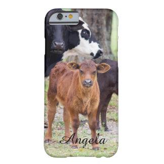 (個人化して下さい)春のベビーの子牛 BARELY THERE iPhone 6 ケース