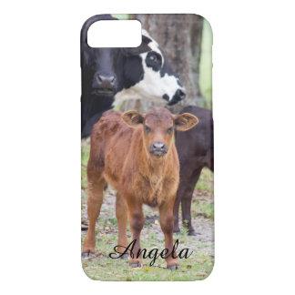 (個人化して下さい)春のベビーの子牛 iPhone 8/7ケース