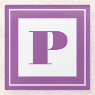 個人化して下さい: 最小主義の正方形のはっきりしたな紫色のイニシャル ガラスコースター