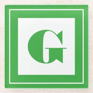個人化して下さい: 最小主義の正方形のはっきりしたな緑のイニシャル ガラスコースター