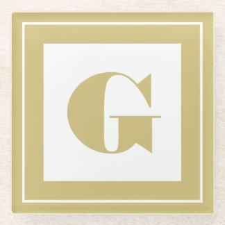 個人化して下さい: 最小主義の正方形のはっきりしたな金ゴールドのイニシャル ガラスコースター