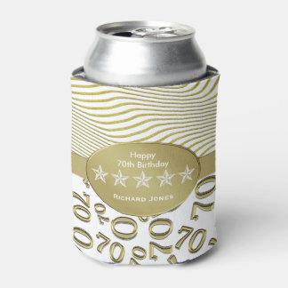 個人化して下さい:  第70誕生日の白および金ゴールドのテーマ 缶クーラー