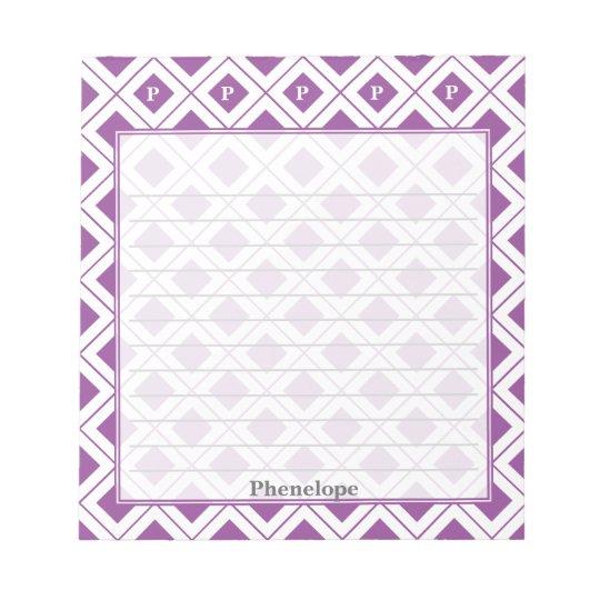 個人化して下さい: 紫色か白く幾何学的なブロックに署名して下さい ノートパッド
