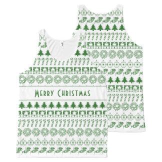 個人化して下さい: 緑かホワイトクリスマスのフォントの芸術は縞で飾ります オールオーバープリントタンクトップ