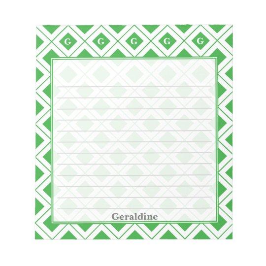 個人化して下さい: 緑か白く幾何学的なブロックに署名して下さい ノートパッド