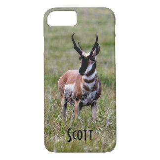 (個人化して下さい)緑分野のニースPronghorn iPhone 8/7ケース