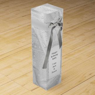 """個人化して下さい: 織られる""""ハッピーバースデー""""の銀 ワインギフトボックス"""