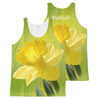 個人化して下さい:  花の写真、黄色いラッパスイセン オールオーバープリントタンクトップ
