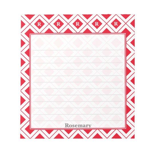 個人化して下さい: 赤くか白く幾何学的なブロックに署名して下さい ノートパッド