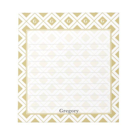個人化して下さい: 金ゴールドか白く幾何学的なブロックに署名して下さい ノートパッド
