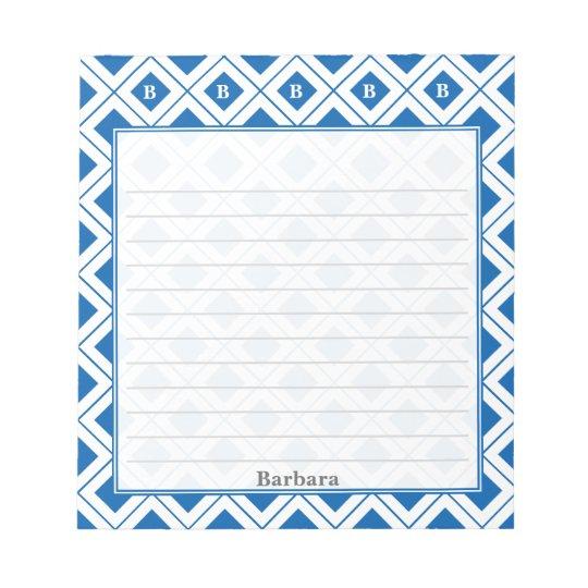 個人化して下さい: 青か白く幾何学的なブロックに署名して下さい ノートパッド