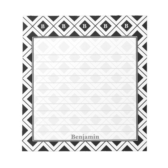 個人化して下さい: 黒くか白く幾何学的なブロックに署名して下さい ノートパッド