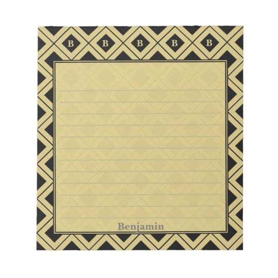 個人化して下さい: 黒または金ゴールドの幾何学的なブロックに署名して下さい ノートパッド