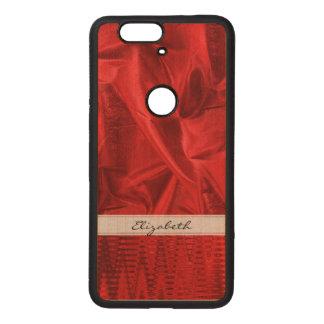 個人化して下さい: Lameの鮮やかで赤く模造のな金属生地 ウッド Nexus 6P ケース