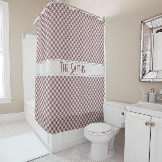 個人化して下さい:  Marsalaのギンガムの点検パターン シャワーカーテン