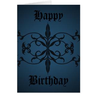 個人化なるべきファンシーで青いゴシック様式誕生日日 グリーティングカード