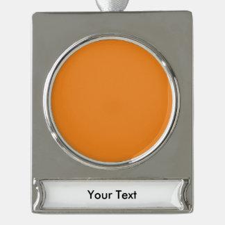 個人化なるべき蜜柑のオレンジテンプレートはカスタマイズ シルバープレートバナーオーナメント
