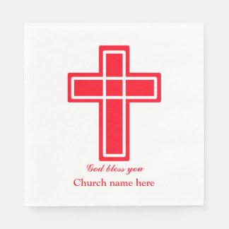 個人化なるべき赤のキリスト教の十字 スタンダードランチョンナプキン