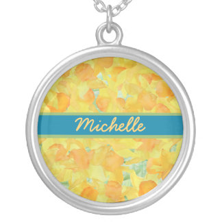 個人化なるべき金黄色いラッパスイセンのネックレス シルバープレートネックレス