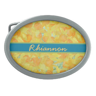 個人化なるべき金黄色いラッパスイセンのベルトの留め金 卵形バックル