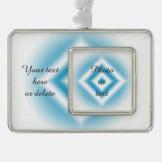 個人化空の青いダイヤモンドの勾配 シルバープレートフレームオーナメント