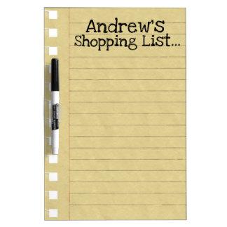 個人的なショッピング・リスト ホワイトボード