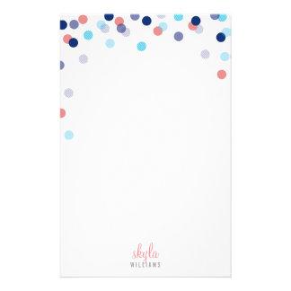 個人的なノートのかわいく明るい紙吹雪の濃紺の珊瑚 便箋