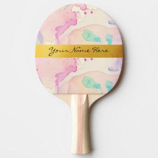 個人的なパステル調の水彩画のしぶきの金ゴールドの名前のストリップ 卓球ラケット