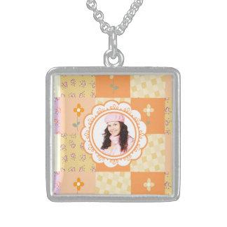 個人的な写真の正方形のネックレス スターリングシルバーネックレス