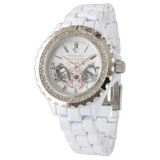 個人的な結婚の腕時計の花嫁のポートレートのイニシャル 腕時計