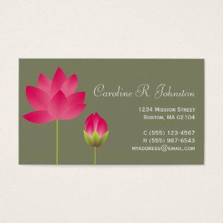 個人的な赤いピンクのはすの花のモダンな茶緑 名刺