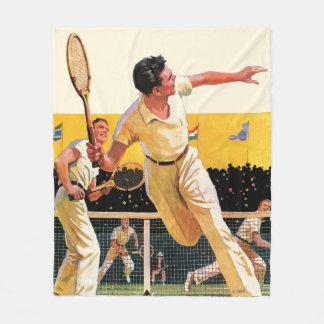 倍のテニスのマッチ フリースブランケット