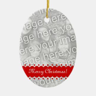 倍は楕円形の写真のオーナメントクリスマスのための味方しました セラミックオーナメント