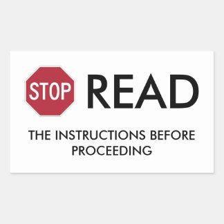 停止および読書 長方形シール