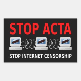 停止アクタのインターネットの検閲のステッカー 長方形シール