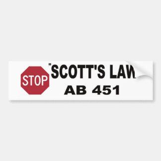 停止スコットの法律のバンパーステッカー バンパーステッカー