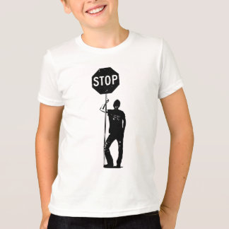 停止印の芸術のヴィンテージの人 Tシャツ