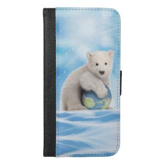 停止地球温暖化の白くまの電話財布 iPhone 6/6S PLUS ウォレットケース
