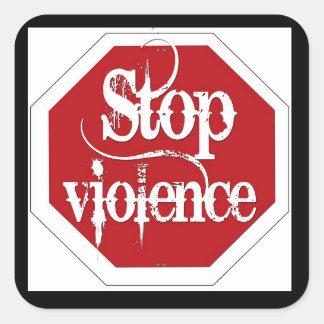 停止暴力のステッカー スクエアシール
