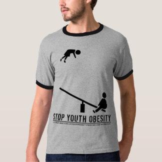 停止青年肥満(ぱりっとした黒いプリント) Tシャツ