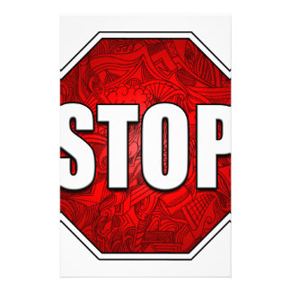 停止! 明るくはっきりしたで赤い停止印の禅の芸術かデザイン 便箋