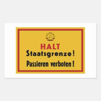 停止Staatsgrenze! ベルリンの壁、ドイツ印 長方形シール