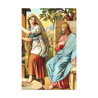 健康なキャンバスプリントのイエス・キリストそして女性 キャンバスプリント